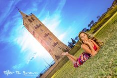 Skyler relaxes on the grass in front of the Adriatica Tower as the sun goes down.