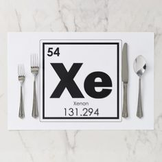 Xenon chemical element symbol chemistry formula ge paper placemat - kitchen gifts diy ideas decor special unique individual customized