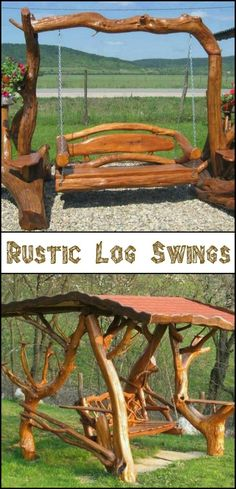 Turn Your Backyard to a Playground For All Ages With These Rustic Log Swings