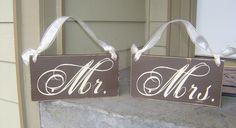 Fall Wedding Signs...MR. and MRS. on one side and JUST MARRIED on the other,  FEATURED ON ETSYS FRONT PAGE... Very elegant Chocolate and Cream signs are 6 in. X 12 inches. They can be done in your wedding color's...