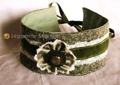 Choker Collar Victorian Green White