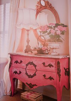 Perfect shade of pink chest of drawers