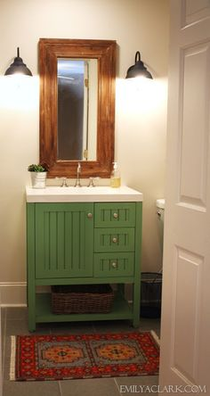 Converting a closet into the boys' bathroom (& a painted green vanity)