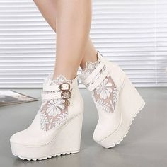 Wedding shoes white wedges boots 46 Ideas for 2019 Lace Wedges, White Wedges, White Wedge Heels, Black Wedge Shoes, Black Boots, Dream Shoes, Crazy Shoes, Wedge Boots, Heeled Boots