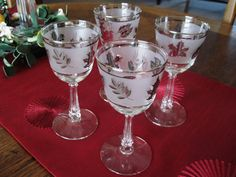 Libbey Silver Leaf Frosted Stemmed Wine Glasses by CrystalCoaster