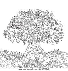 Beautiful abstract tree for design element and adult coloring book. Vector illustration