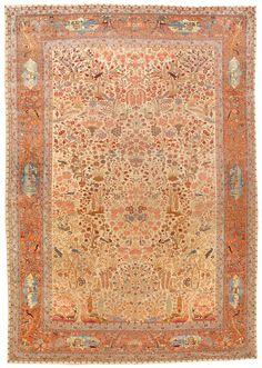 Antique Dabir Kashan Carpet 8.5 X 12.4 - Fred Moheban Gallery