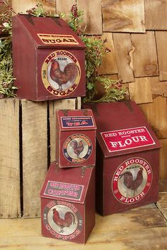 Hinged Red Rooster Wooden Kitchen Canister Set of 4 by Baubles-N-Bling