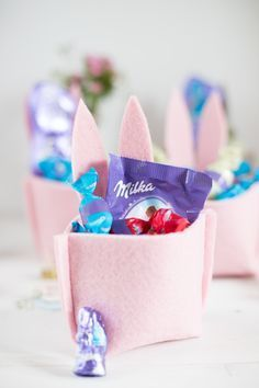 Sewing felt basket for Easter with sewing pattern and video .- Filzkorb zu Ostern nähen mit Schnittmuster und Video Anleitung Sewing felt basket for Easter with sewing pattern and video instructions -