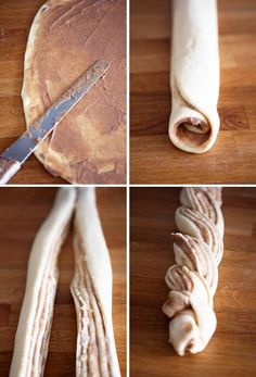 "Cinnamon - Looks great! Since pinterest blocked this recipe, I'm going to use this recipe to make these!! http://www.bhg.com/recipe/sweet-rolls/cinnamon-twists/ ---Might use this for the ""butter"": 1/4 cup melted butter   1/2 cup sugar  2 tsps cinnamon"