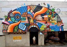"""""""Monster"""" Street art in Tel Aviv, Israel, by Amsterdam-based Spanish artist SKOUNT"""