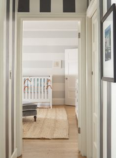 love the vertical stripes in hall and horizontal stripes in nursery