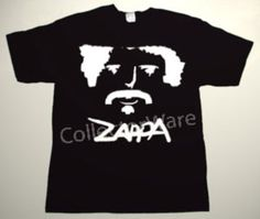 FRANK ZAPPA cartoon 3 CUSTOM ART UNIQUE T-SHIRT  Each T-shirt is individually hand-painted, a true and unique work of art indeed!  To order this, or design your own custom T-shirt, please contact us at info@collectorware.com, or visit  http://www.collectorware.com/tees-frankzappa_andrelated.htm