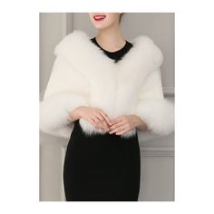 Shawl Shrug Faux Fur Weddings Evening Coat (400 NOK) ❤ liked on Polyvore featuring outerwear, coats, white, 3/4 sleeve shrug, white shawl, white coat, fake fur coats and faux fur coat