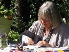 Kleine aquarel aan het maken (demonstratie).