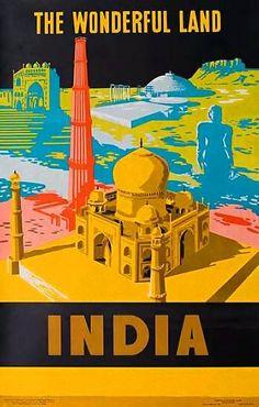 The wonderfull land India | Vintage travel poster