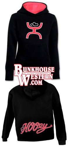 #GetYourHOOey, Youth Gymkhana Hoodie, Black and Neon Pink Sweatshirt, Hooey, Rodeo, Little Britches, Cowboy Hat, Cowgirl, Kids, $49.99, http://bunkhousewestern.com/GYMK