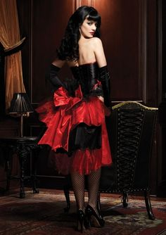 Red and black mid-length bustle idea