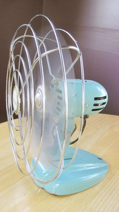 Turquoise Metal Eskimo Brand Small Fan From the by ZulasHouse, $70.00 I had a fan just like this one when I was a teenager, same color and everything. :)