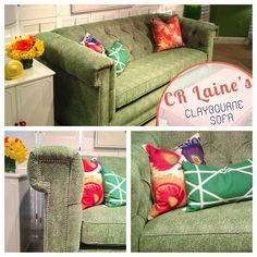 "CR Laine | 310 N. Hamilton Building 2nd Floor The ""Claybourne Sofa"" shown in Siamese Shamrock fabric & Fruitwood finish is a perfect pick-me-up for any living room!  #HPMKT"