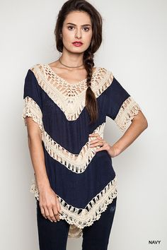 Crochet Knit Top - Navy