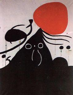 'frau in vorderseite von die sonne i', acryl auf leinwand von Joan Miro (1893-1983, Spain)