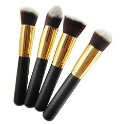 niceeshop(TM) 4 Pieces Pro Foundation Makeup Tools Cosmetic Brush Blending Face Eye Brush Kit Sets,Gold