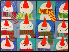 Snowmen Looking Up - Apex Elementary Art: December 2011 Christmas Art Projects, Winter Art Projects, School Art Projects, Winter Project, Christmas Crafts, Snowman Crafts, Christmas Christmas, Kindergarten Art, Preschool Crafts
