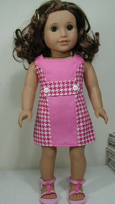 American Made Dress for 18-inch Girl Doll Hand-Crafted 1960's Good Vibrations