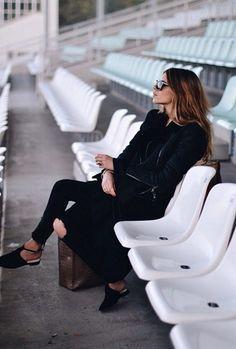 Maja Wyh in Lana Leather Jacket in Black. #JBRAND