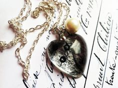 Black Lace Resin Necklace Resin Pendant Resin by lowelowejewelry, $22.00