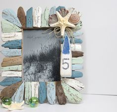 Lovely Painted Beach Decor Driftwood Frame!