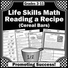 In this life skills math for special education packet, students will practice reading a cereal bard recipe and will answer comprehension questions. It also works well for students with autism, ASD, ESL and speech therapy. The recipe is real, and your students will love helping you bake them...or at least enjoy them as a special treat.