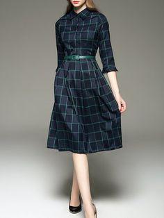 Half Sleeve Vintage V Neck Midi Dress
