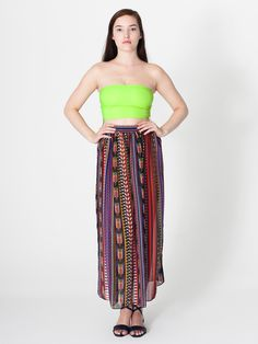 Printed Chiffon Full Length Skirt - American Apparel