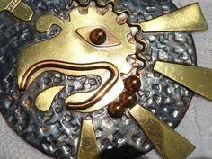 Vintage Mayan Eagle Necklace Xochitl Flower Sun Copper Brass Crown Mark Mexico  #CrownMarkMexico