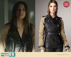 Cat's leather trench coat with beige sleeves on Beauty and the Beast. Outfit Details: http://wornontv.net/25277 #BeautyandtheBeast #fashion #BATB