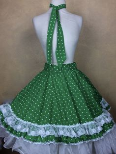Square Dance Apron Kelly Green Shamrock Print Lace Trim   Matching Man Tie   #Unbranded