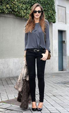 #work #fashion grey blouse black skinny jeans combo