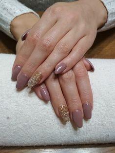 brown gel, gold glitter