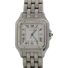 Pre-owned Cartier Panthere 1300 Stainless Steel Quartz Roman Dial... ($1,495) ❤ liked on Polyvore featuring jewelry, watches, cartier watches, quartz wrist watch, unisex watches, roman numeral watches and cartier wrist watch