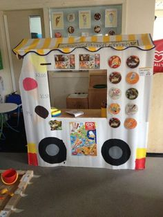 Defo having an Ice cream van in our seaside role play area Dramatic Play Area, Dramatic Play Centers, Play Based Learning, Learning Through Play, Play Corner, Ice Cream Theme, Ice Cream Van, School Displays, Play Centre