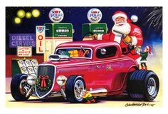 Hot Rods Christmas Cards - X-553 - One (1) Pack of 10 Cards & Envelopes #Christmas