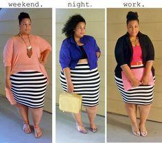 1 striped skirt. 3 ways.