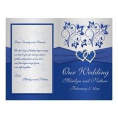 Royal #Blue and Silver Floral Heart #wedding #invitations & stationery ... Wedding ideas for brides, grooms, parents & planners ... https://itunes.apple.com/us/app/the-gold-wedding-planner/id498112599?ls=1=8 … plus how to organise an entire wedding ♥ The Gold Wedding Planner iPhone App ♥