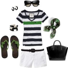 """""""Black & Green Nautical Summer"""" by heather-rolin ❤ liked on Polyvore"""