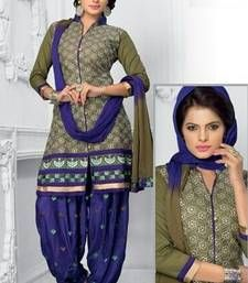 Buy Radiant Cotton Embroidered Patiala Suit Dress Material With Chiffon Dupatta dress-material online