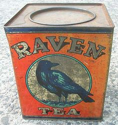 Raven Tea tin with artwork of black bird on orange tin with gold lettering, inset lid, New Zealand Vintage Tins, Vintage Coffee, Vintage Labels, Vintage Antiques, Vintage Tin Signs, Vintage Stuff, Coffee Tin, Coffee Maker, Coffee Shops