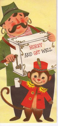 Vintage Get Well Card.  The Hurdy Gurdy man & monkey bell hop.