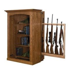 Patriot - Large Bookcase with Hidden Gun Cabinet American Gun Cabinet Collection Keep your firearms close by and easily accessible, while staying safely concealed on the hidden gun rack behind t Large Bookcase, Bookcase Storage, Book Shelves, Shelving Racks, Display Shelves, Bookcase Plans, Storage Racks, Hidden Gun Storage, Secret Storage